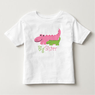 Pink and Green Alligators Big Sister Toddler T-Shirt