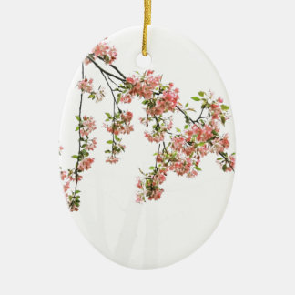 Pink and Green Apple Blossoms Christmas Ornament