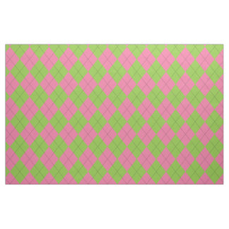 Pink and Green Argyle Black Fabric