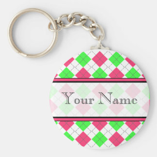 Pink And Green Argyle Keychain