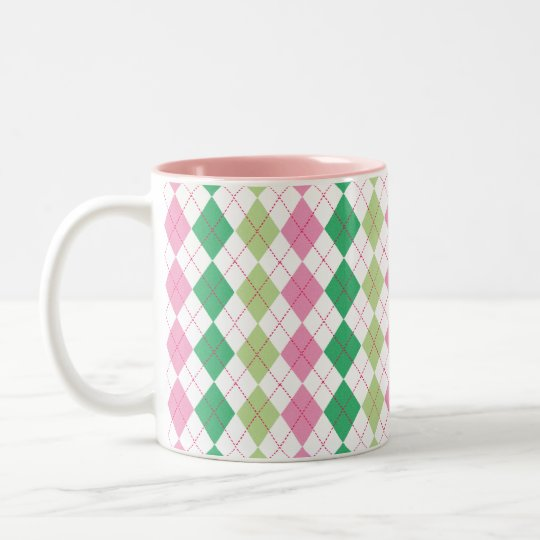Pink and Green Argyle Mug
