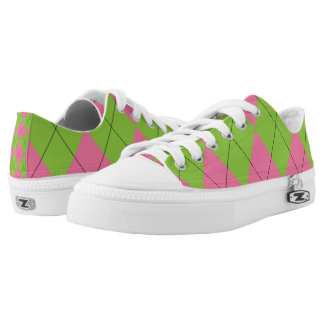 Pink and Green Argyle Printed Shoes