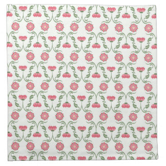 Pink and Green Art Deco Inspired Floral Pattern Napkin