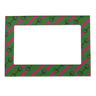 Pink and Green Bit Ribbon Pattern Magnetic Picture Frame
