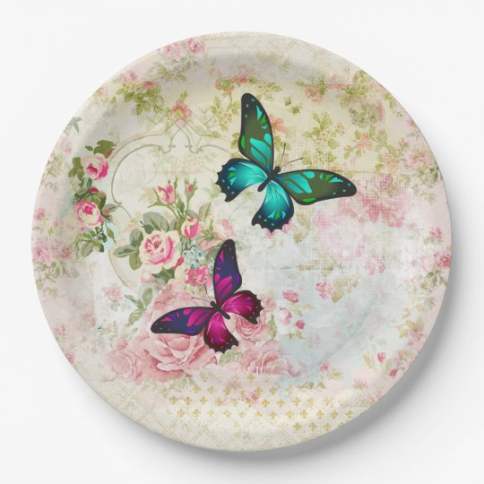 Pink and Green Butterflies on Vintage Pattern Paper