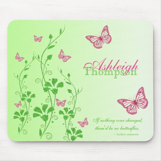 Pink and Green Butterfly Floral Mousepad