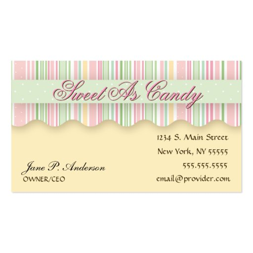Pink and Green Candy Striped Business Card