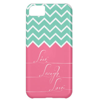 Pink and green chevron/live,laugh,love iPhone 5C case
