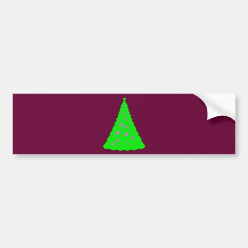 Pink and Green Christmas Tree Bumper Sticker