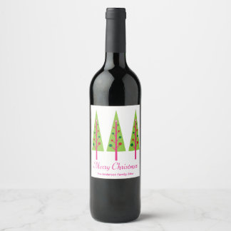 Pink and Green Christmas Trees Wine Label