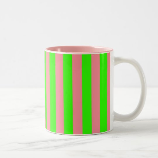 Pink and Green Coloured striped pattern Two-Tone Coffee