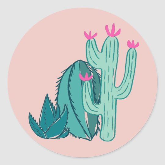 Pink and Green Cute Cactus Classic Round Sticker