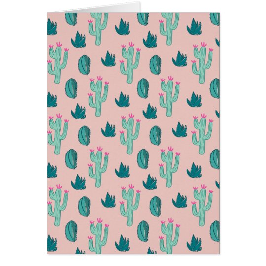 Pink and Green Cute Cactus Pattern Card