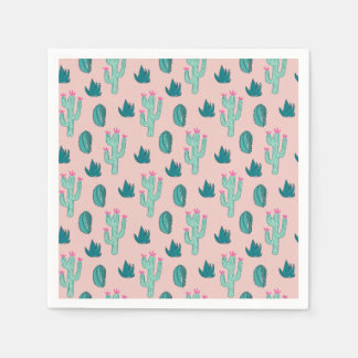 Pink and Green Cute Cactus Pattern Disposable Serviette