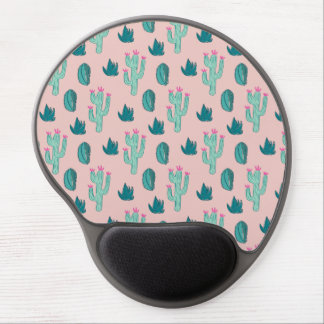 Pink and Green Cute Cactus Pattern Gel Mouse Mat