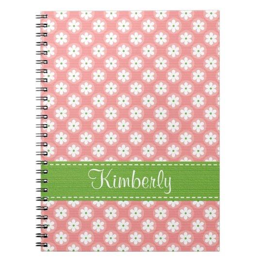 Pink and Green Daisy Spiral Notebook Journal