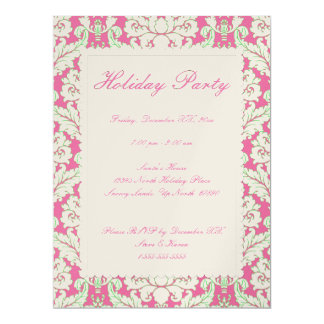 "Pink and Green Damask Holiday Party Invite 6.5"" X 8.75"" Invitation Card"