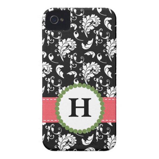 Pink and Green Damask Monogram Blackberry Bold Cas Blackberry Bold Case