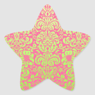 Pink and Green Damask Star Sticker