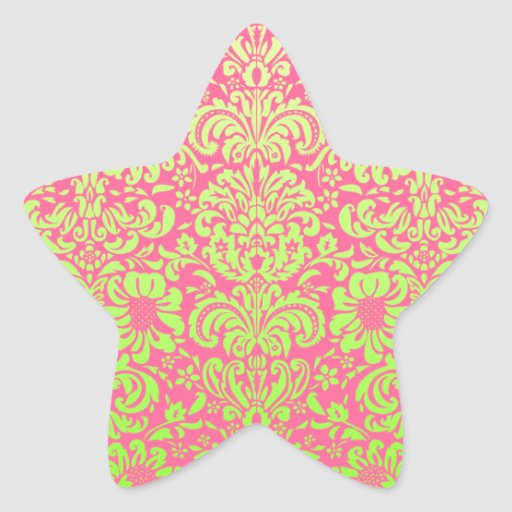 Pink and Green Damask Stickers