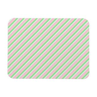 Pink and Green Diagonal Stripes Rectangular Photo Magnet