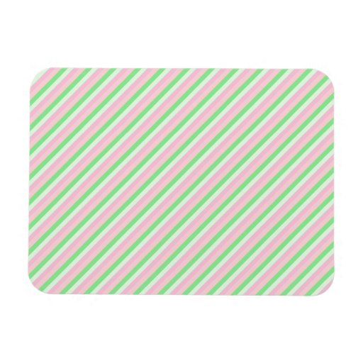 Pink and Green Diagonal Stripes Magnet