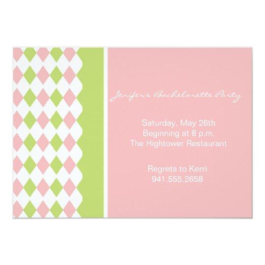 Pink and Green Diamond Invitation