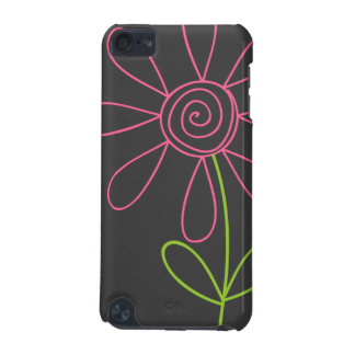 Pink and Green Doodle Flower on Dark Gray iPod Touch 5G Case