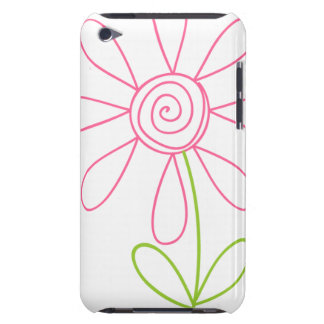 Pink and Green Doodle Flower on White iPod Touch Covers