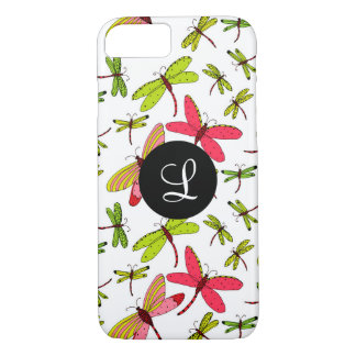 Pink and Green Dragonflies Monogram iPhone 8/7 Case