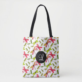 Pink and Green Dragonflies Monogram Tote Bag