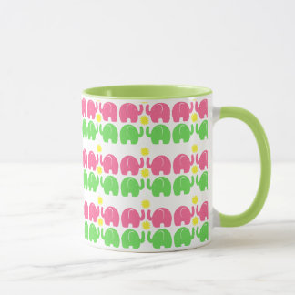 Pink and Green Elephants with Flower
