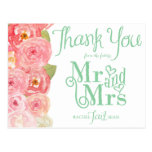 Pink and Green Floral Bridal Shower Thank You