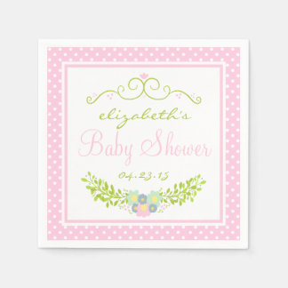 Pink and Green Floral Wreath Beautiful Disposable Napkin