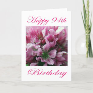Pink And Green Flower Happy 94th Birthday Card
