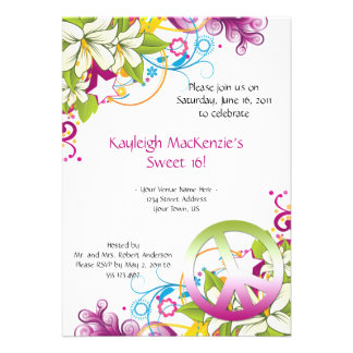 Pink and Green Flowers Peace Sign Sweet 16 Invite