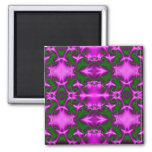 pink and green fractal square magnet