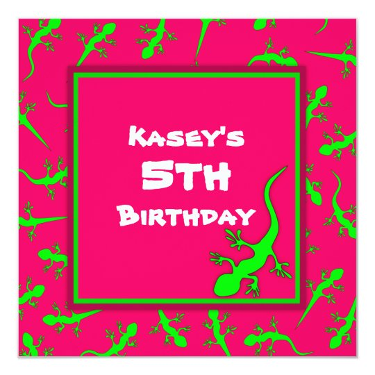 Pink and Green Gecko Lizards Theme Birthday Party