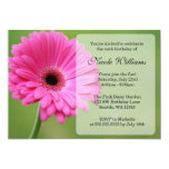 Pink and Green Gerbera Daisy Birthday Party 13 Cm X 18 Cm Invitation Card