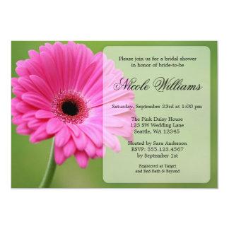 Pink and Green Gerbera Daisy Bridal Shower 13 Cm X 18 Cm Invitation Card