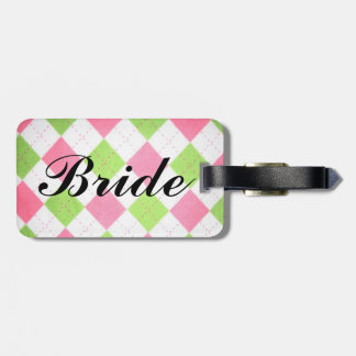 "pink and green gingham ""Bride"" luggage tag"
