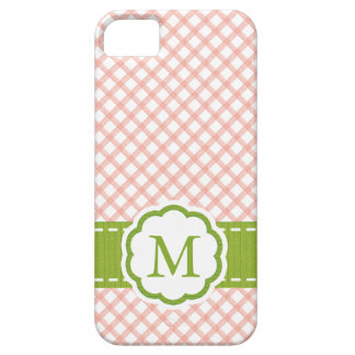 Pink and Green Gingham Monogrammed Barely There iPhone 5 Case
