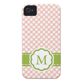 Pink and Green Gingham Monogrammed iPhone 4 Covers