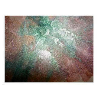 Pink and Green Glitter Paint Splatters Poster