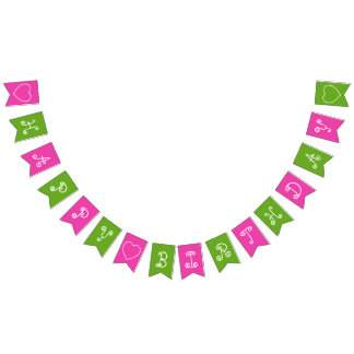 Pink and Green Happy Birthday Personalized Bunting
