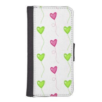 Pink and Green Heart Balloons on White Phone Wallet Case