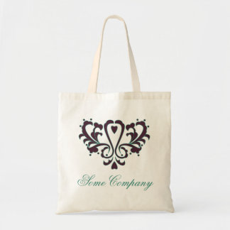 Pink And Green Heart Damask Tote Bag