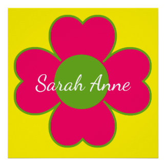 Pink and Green Heart Flower on Yellow Personalized Poster