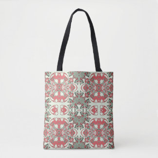 Pink and Green Kaleidoscope Pattern Tote Bag