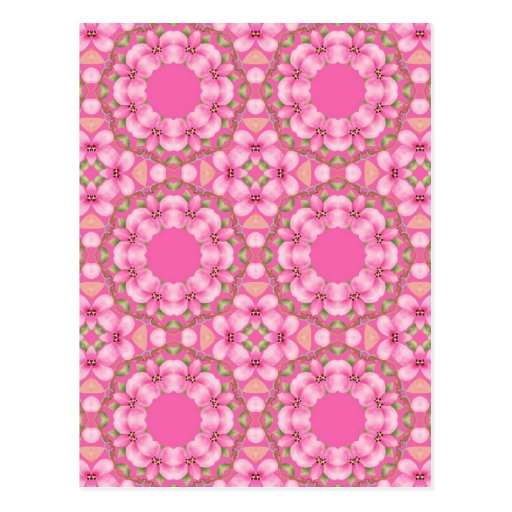 Pink and Green Kaleidoscope Postcard